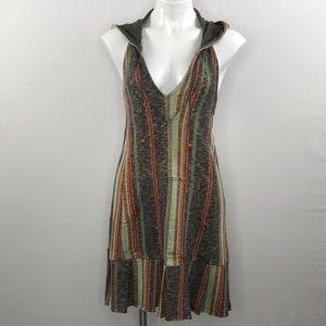 Free People sleeveless hooded boho pleat hem dress